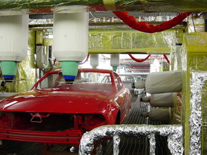 Iconic Ford Mustang going through paint at the AutoAlliance facility at Flat Rock